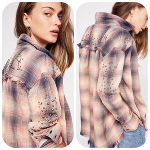 Free People Take On Me Studded Plaid Frayed Top XS